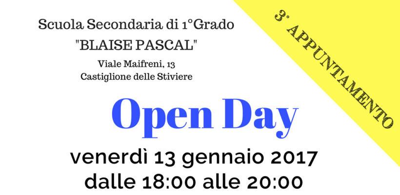 Terzo appuntamento Open Day Scuola Media Pascal