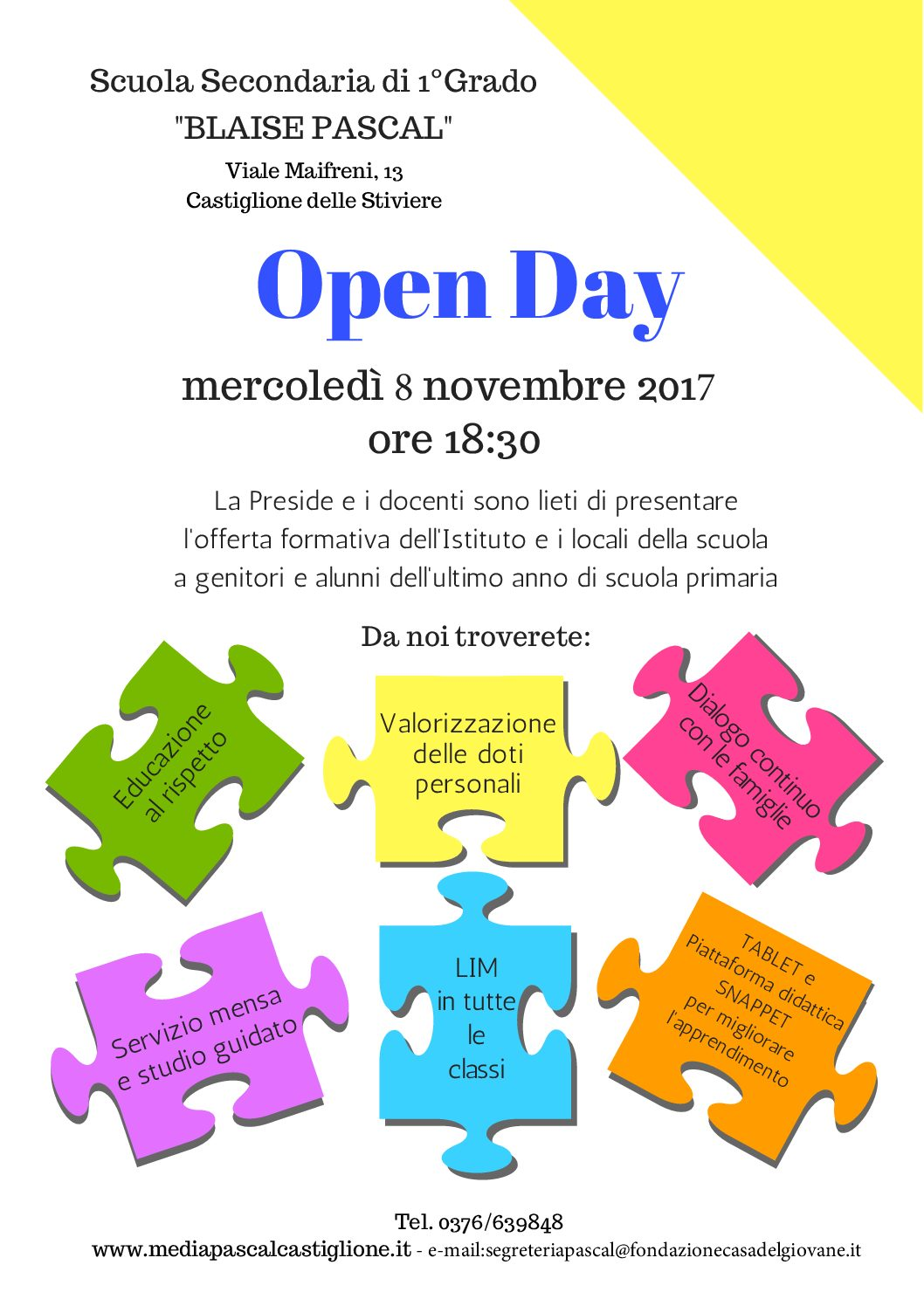 Open Day Scuola Secondaria di primo Grado Blaise Pascal 2017