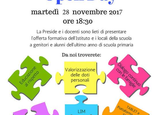 Open Day Scuola Media Pascal – 28 novembre 2017